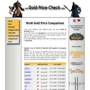Price Comparison for WoW Gold & Other Virtual Currencies