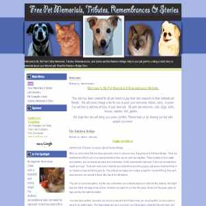 Free Pet Memorial, Tributes, Remembrances & Stories
