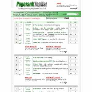 Pagerank Toplist