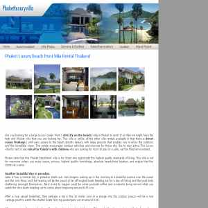 Phuket Luxury Beach front Villa Rental