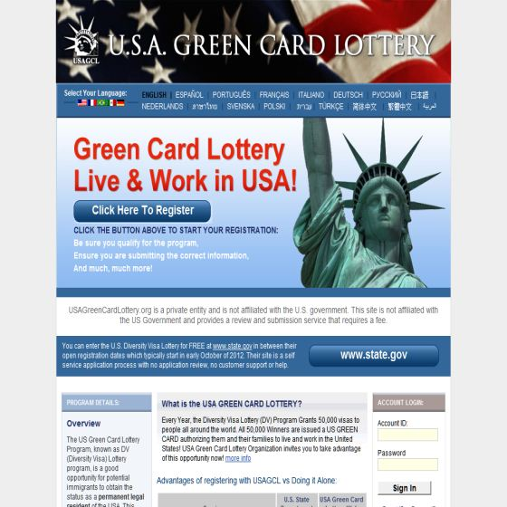 USA LOTTERY GREEN CARD