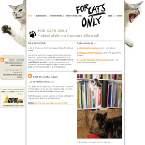 For Cats Only! Lots of advice, reviews and funny pictures