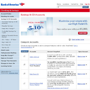 Savings & CD Accounts from Bank of America