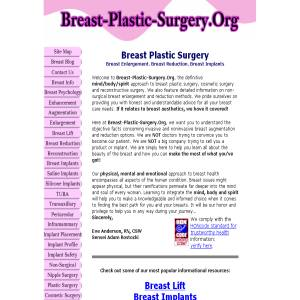 Breast Plastic Surgery - Enlargement & Reduction