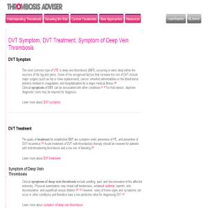 Deep Vein Thrombosis Symptom Information